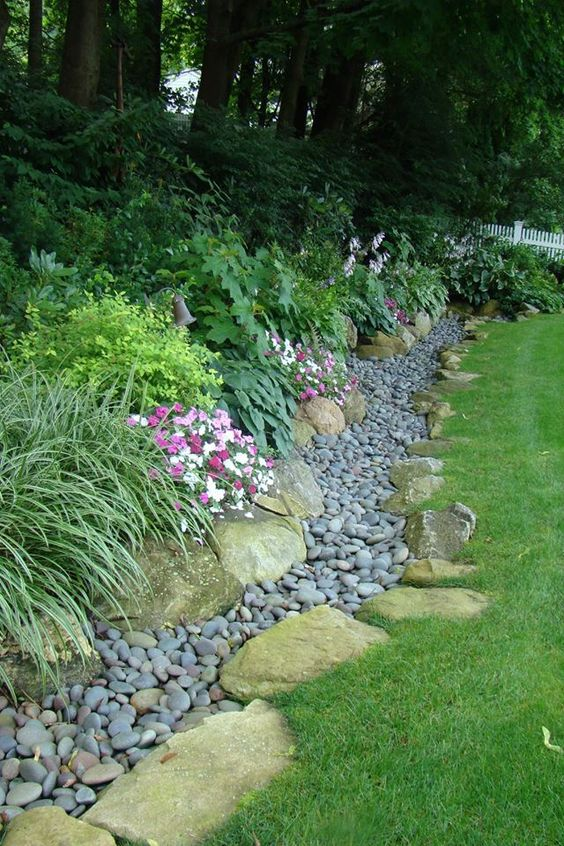 Dry river bed stones