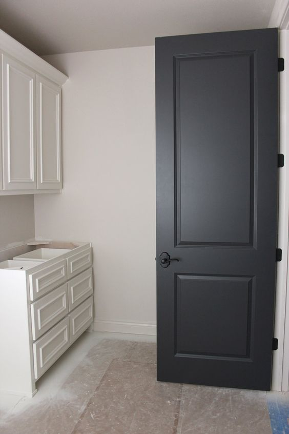 Dark interior Doors Benjamin Moore Wrought Iron