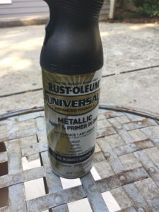 Faded Wrought Iron Patio Furniture Makeover with Rustoleum Spray Paint | Oil Rubbed Bronze |
