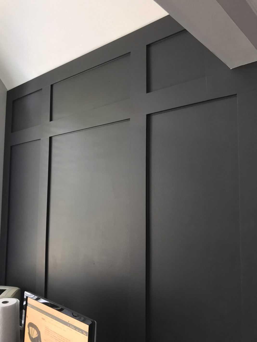 DIY Board and Batten | Update with Wood Trim | Benjamin Moore Mopboard Black | Black Walls