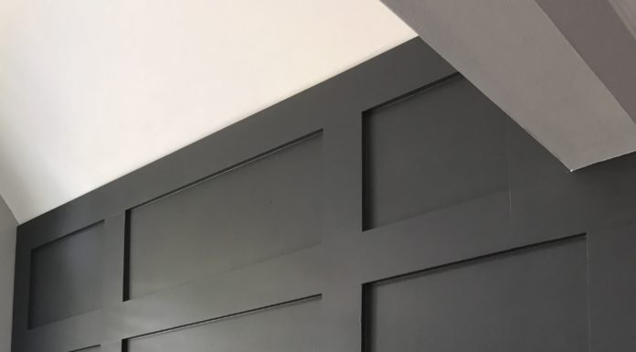 DIY Board and Batten | Update with Wood Trim | Benjamin Moore Mopboard Black | Black Walls