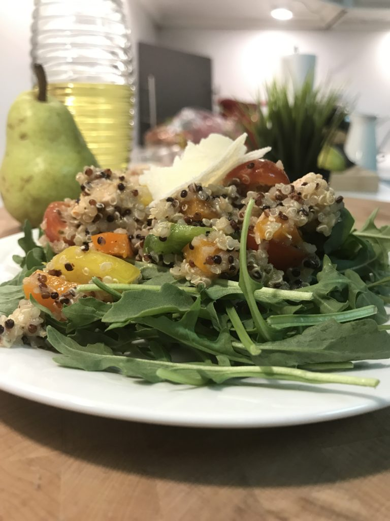 Tri-Color Quinoa Salad - Simple Recipes | Lemon Vinaigrette | arugula