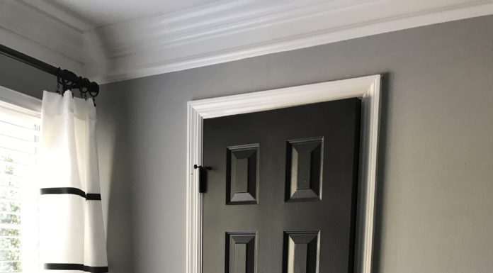 Black Interior Doors | Dark Interior Doors| Benjamin Moore Mopboard Black Paint Color | Modern Room Updates for Cheap