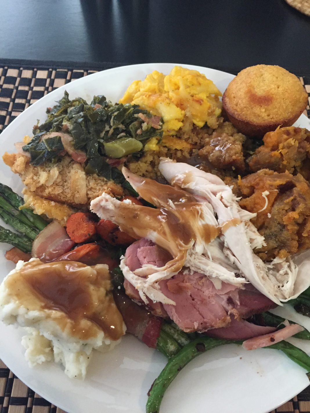 Thanksgiving recipe | Turkey | Thanksgiving Dinner Ideas | Thanksgiving Sides | Thanksgiving menu ideas | Southern Collard Greens | Collard Greens Recipe | cornbread muffin recipe | Sweet Potato Souffle Recipe | Maple Turkey Glaze | Soul Food Thanksgiving | Southern Mac and Cheese | Macaroni and Cheese