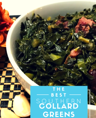 The #1 Southern Collard Greens Recipe with smoked bacon and turkey. Easy to prepare recipe for collard greens at Easter, Thanksgiving or special dinner.