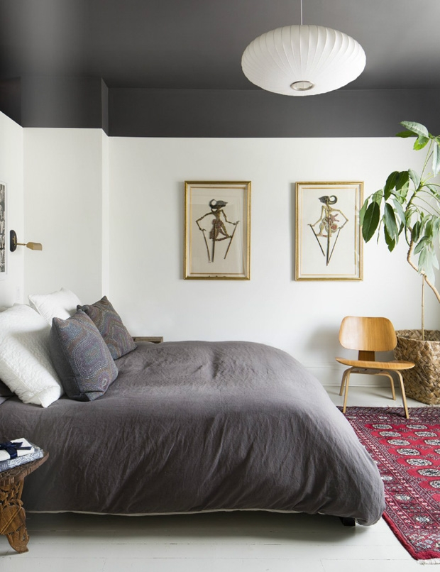 Small Bedroom Makeover Ideas Dark Painted Ceiling Ideas