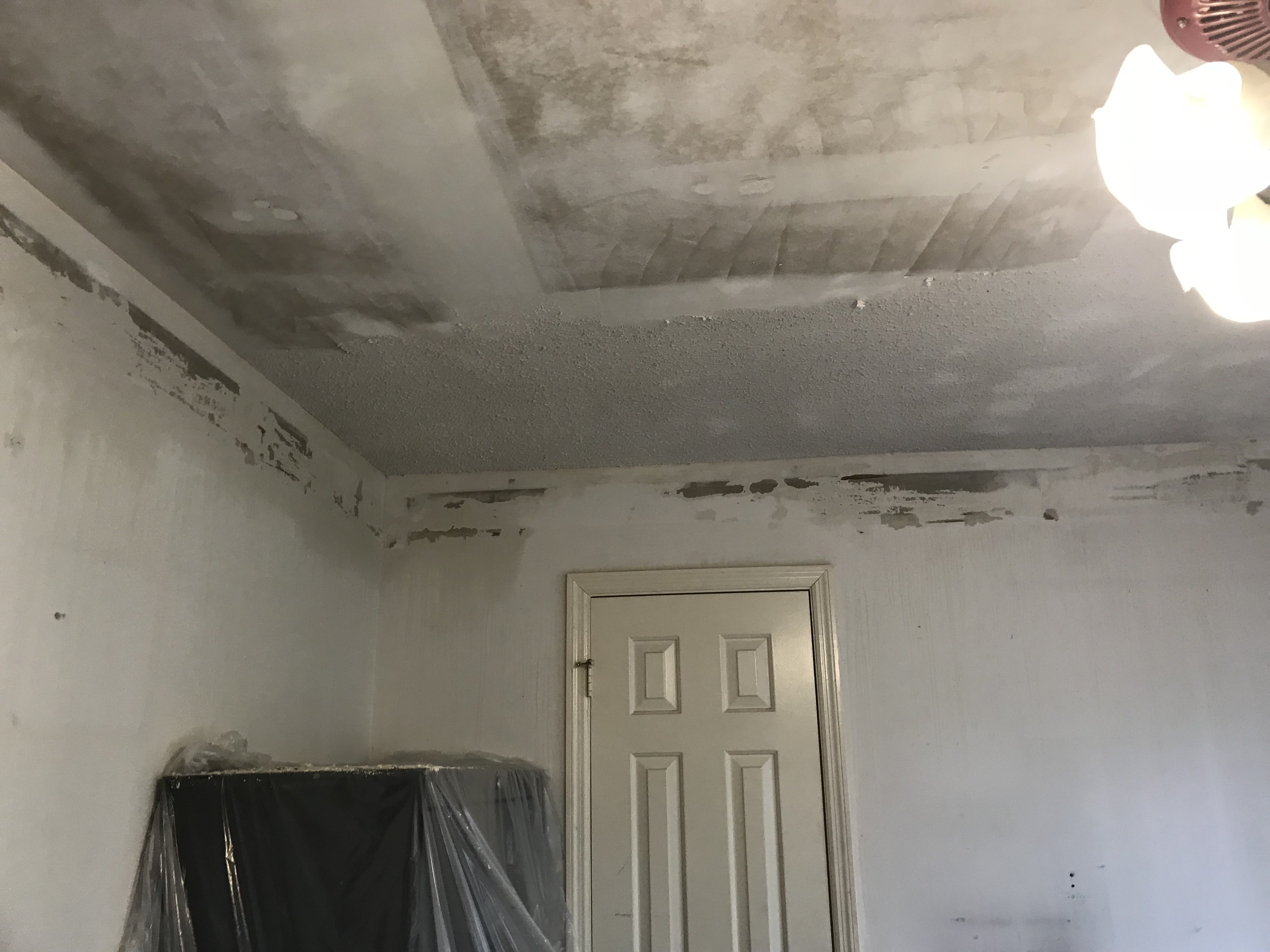 Small Bedroom Makeover Remove Wallpaper Popcorn Ceiling